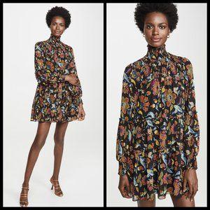 CINQ A SEPT Rika Floral Highneck Tiered Mini Dress